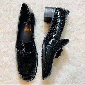 Stuart Weitzman crocodile print tassel loafers 7.5